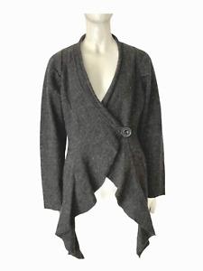 Cynthia Rowley Gray 100% Boiled Wool Drape Cardigan Button Sweater  Pockets Warm