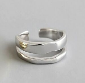 925 Silver Plated Chunky Double Band Ring Adjustable UK Thumb Finger UK