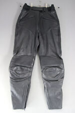 REV'IT BLACK LEATHER BIKER TROUSERS: WAIST 28 INCHES/INSIDE LEG 27 INCHES