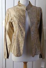 WOW New Bleu Bayou Art-to-Wear Gold Silk Paisley Beaded Open Floral Jacket Sz M