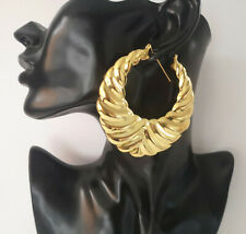 Big chunky 7.5cm gold tone round tribal statement creole hoop earrings * SECONDS