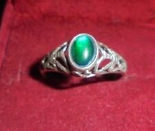 Vintage Sterling Silver Filigree Ring Green Glass Stone Marked STER - Size 9