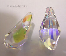 2x SWAROVSKI 6015 CLEAR CRYSTAL AB 13mm Polygon PENDANT