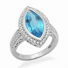 Marquise Cut Blue Topaz VS Diamond Engagement Wedding Ring Solid 14K White Gold