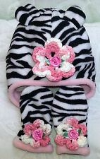 NEW PINK ZEBRA FLEECE HAT MITTENS SET GIRLS INFANT NEWBORN 0 3 6 9 MONTHS