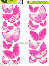 18 Pink Butterflies Wall Art Decals Appliques Stickers Peel & Stick Girls Room