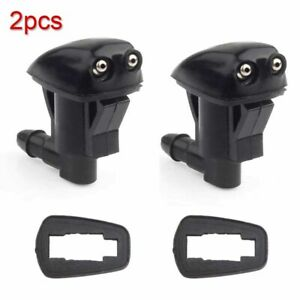 2x Auto Car Black Aluminum Windshield Wiper Water Jet Spray Washer Nozzle Kits S