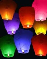 100 Chinese Fire Wishing Paper Sky Lantern Wedding Birthday Party Multi-Colored