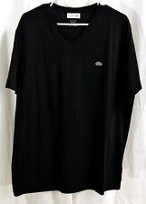 Lacoste Men's Short Sleeve V-Neck Pima Cotton Jersey T-Shirt Black SIze XXL