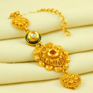 Bridal Traditional Gold Plated Maang Tikka Forhead Women Wedding Fashion Jewelry
