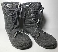 ROXY WOMENS GRAY LACE UP WINTER BOOTS SHOES 8 FUR LINED