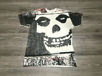 MISFITS Punk Rock Band Horror Skull All Over Print T-Shirt Adult Size Small RARE