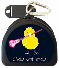 Zumoe Mouth Guard Case for Lacrosse Players call Chick with Lacrosse Stick