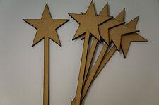 MDF Star Wand 10x24.5cm/100x245mm x 4mm - 5x Laser cut wooden shape