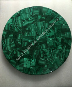 "12"" Green Marble Coffee Center Table Top Malachite Inlay Random Stone Arts E1495"
