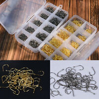 500pcs Fish Jig Hooks with Hole Fishing Tackle Box 10 Sizes Carbon Steel w/ Box