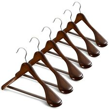 High-Grade Wide Shoulder Wooden Coat Hangers - Solid Wood Suit Hanger, 6 Pack