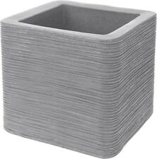 Large Cube Planter Ribbed Light Grey Plant Pot Square. 39cm Wide Double Walled