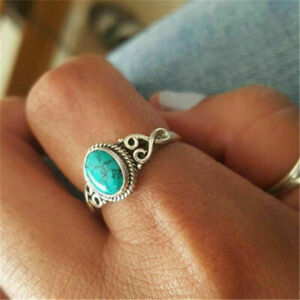 TIBETAN SILVER TURQUOISE STYLE NATURAL STONE MARBLE EFFECT RING SIZE Q