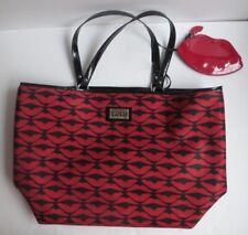Lulu Guinness Shoulder Purse Shopper Tote Coin Bag Black Red Lips Pattern