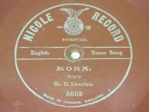 "D. LLEWELLYN : Mona - Original 1904/1905 UK 10"" 78rpm NICOLE RECORD 219"