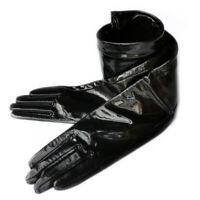 women new real shining patent leather opera long plain style gloves black