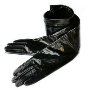 women new real shining patent leather opera long plain style gloves black