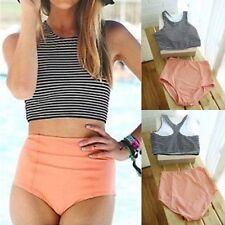 M Sexy New Womens Bikini Push Up Padded High Waisted Striped Swimsuit Swimwear