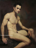 Art prints male nudes cotton canvas transfer from oil painting sitting men 24x32