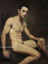 Art prints male nudes cotton canvas transfer from oil painting sitting men 24x36