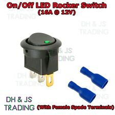 Green 12v Rocker Switch On/Off Illuminated Car Dash Panel Light With Connectors