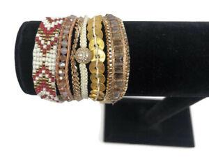 Victoria Emerson Boho Cuff Bracelet ALBEROBELLO Magnet Clasp Gold Pink