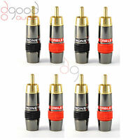 8 x Monster, Quality Gold Plated RCA Phono Plugs Audio / Video Solder Connector