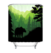 Bear Mountain Shadow Bathroom Waterproof Fabric Bath Shower Curtain Hooks 72x72""