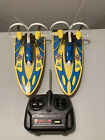 2 VINTAGE Cox MX2 Puddle Runners Hydroplane RC ELectric Powered W/ One Remote