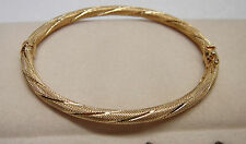 14KT Yellow Gold Textured Oval Bangle Bracelet Hinged w/Safety Catch 6.4 Grams