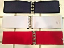 Women's Elastic Cinch Belt Extra Wide Stretch Waist Band with Buckle Many Colors