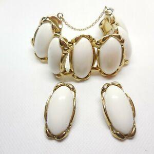 "Vintage White Stone  6"" Bracelet and Clip On Earring Set 1 1/4"" Stones"