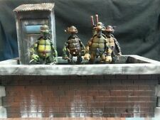 Custom NECA Teenage Mutant Ninja Turtle Figures w/Rooftop Diorama TMNT
