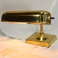 Vintage Brass Desk Piano Lamp Light Bankers Table Task Student Square Base 7""