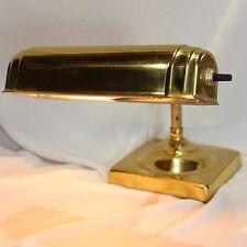 "Vintage Brass Desk Piano Lamp Light Bankers Table Task Student Square Base 7"""