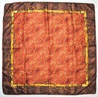 """Luxury ETIENNE AIGNER Designer CLASSIC Chain Belt RED Brown Twill Silk 34"""" SCARF"""