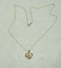"WHITE PEARL HEART PENDANT NECKLACE SET IN 14K YELLOW GOLD 20"" LENGTH N366-T"