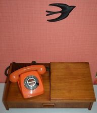 vintage edle 60er Jahre Telefonablage Wandregal Danish design Schublade sixties