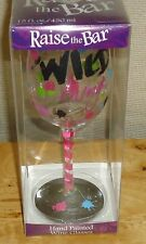 """Wine Glass Hand Painted """"Wild Thing"""" 15 oz by Raise The Bar Makes Nice Gift NEW"""