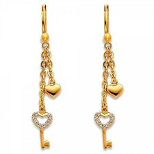 14K Solid Yellow Gold Diamond Heart Key Long Dangle Hanging Hook Earrings