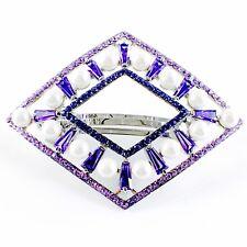 USA PEARL BARRETTE use Swarovski Crystal Hair Clip Hairpin Elegant Purple SW14