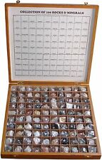 100 Rocks & Minerals Collection in Wooden Box for Geology Civil Educational Use