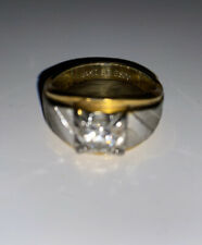 Carat Cz Solitaire Mens Ring Used Vintage Espo 14kt Ge Gold Electroplated 1