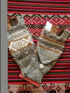 High Quality  Alpaca  Wool Gloves Mitten Fingerless PERUVIAN   S/M